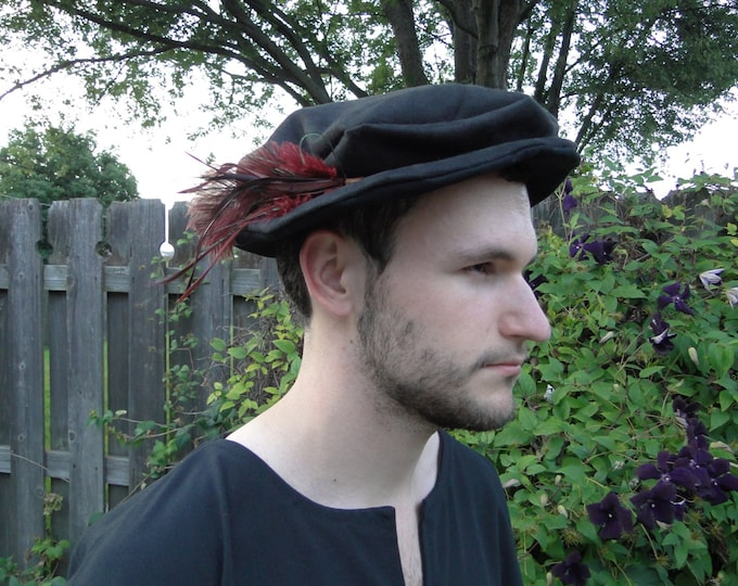 Medieval Renaissance Hat, Costume Accessory, Faux Suede or Linen Fabric - Choose Your Color!