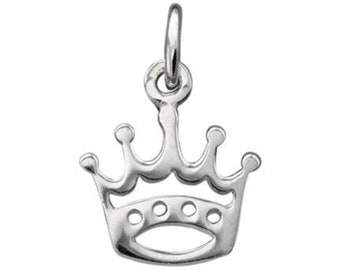 Sterling Silver Crown Charm, 10.6 x 11.8 mm, Princess Charm, Queen Charm, USA Seller (S125)