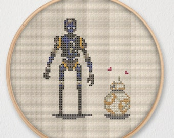 BB-8 and K-2SO Star Wars Cross Stitch Pattern - Instant Download PDF