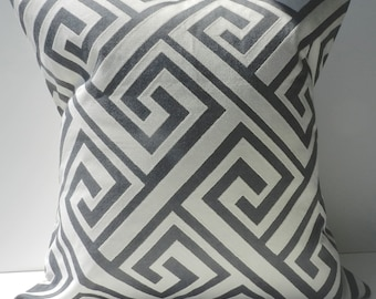New 18x18 inch Designer Handmade Pillow Cases in charcoal grey and cream large greek key pattern