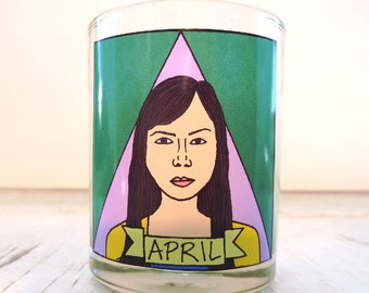 April Ludgate Glass Votive Candle // LGBTQ Altar Candle