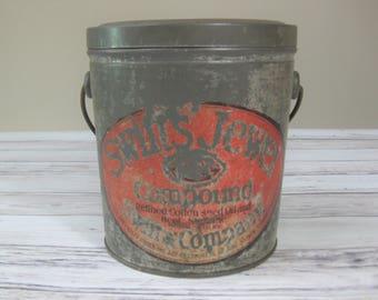 Antique Bucket, Swift's Jewel Compound, Vintage Tin Bucket, Tin Advertising Bucket, 1906