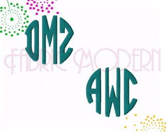 ROUND MONOGRAM small Embroidery monogram Font Design  BX  1  1.5 and 2 inches included  #544