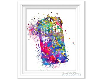 TARDIS Art Print Doctor Who Art Print Doctor Who TARDIS Watercolor Tardis Poster Painting Wall Art Home Decor Doctor Who Fan Gift (No.376)