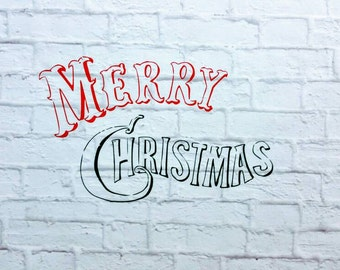 Merry Christmas Vinyl Wall Decal Your Choice of 2 Colors