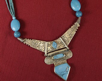 Ethnic Afghani Necklace with light blue accents