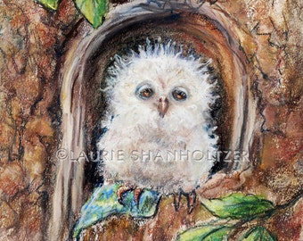 "Owl children Nursery baby wall art animal bird woodlands Canvas or paper print ""Sleepy Little Owl...Close Your Eyes"" Laurie Shanholtzer"