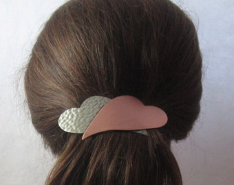 BIG HAIR Crossed Hearts 100mm French Barrette- Hair Accessories- Large Barrette- Barrettes and Clips- Hair Clips-