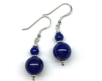 Lapis Earrings, Lapis Lazuli Earrings, Blue Earrings, Blue and Silver Earrings, Genuine Lapis Lazuli Bead 925 Sterling Silver Earrings