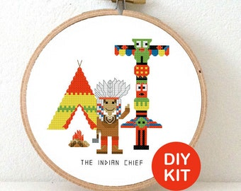 Indian Chief Cross Stitch Kit . DIY Birthday Gift for boy. Modern cross stitch design including embroidery hoop