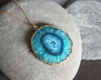 Sunna Solar Quartz Necklace - blue quartz stalactite slice pendant & 14k gold chain