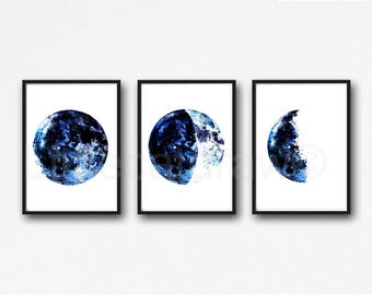 Moon Phase Print Set of 3 Watercolor Prints Celestial Bedroom Wall Decor Wall Art Luna Dark Blue Lunar Phases Home Decor Moon Print