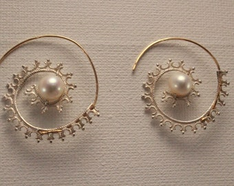 Infinity- earring (3)  Sterling Silver and 14 k gold-filled infinity earrings with  pearls