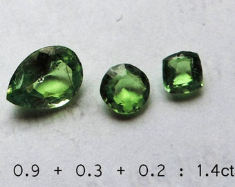 Grossular green garnet : Tsavorite 1,40 carats. 100% natural, no treatment.