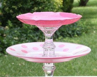 Pink Cupcake Cake Stand Polka Dot 2 Tier Serving Platter Made To Order