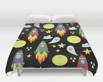 Space Duvet Cover, Space Comforter, Rocket Ships Duvet, Kids Bedroom, Boys Duvet, Astronaut, Outerspace, Moon, stars, space ship, childrens