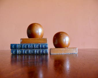 Solid Wood Orb Bookends, Rustic Modern Half Circle Wood Bookends, Mid Century Library Office Shelf Decor