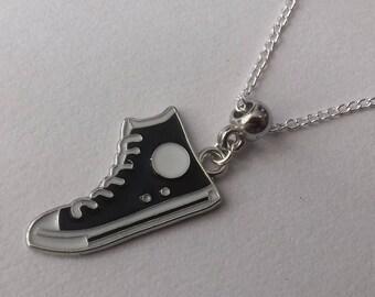 Silver Necklace , Converse Style Necklace , Enamel Necklace , Black Necklace , White Necklace , Handmade Jewelry , Handmade Jewellery