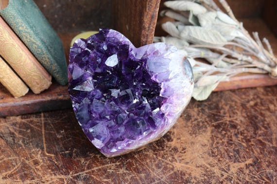 Black Amethyst Heart Shaped Cluster, Raw Amethyst Geode, Black Amethyst Heart, Amethyst Heart, Purple Crystal Heart, Bohemian, Gifts for Her