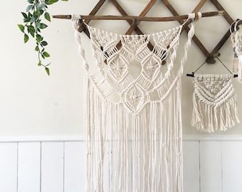 Medium Macrame with diamond on worn wood. Neutral and made from 3mm cotton rope.