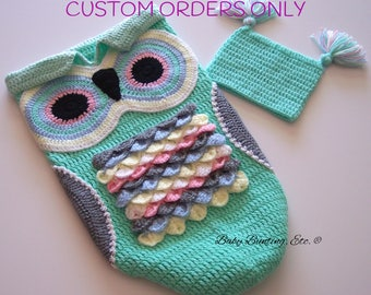 Baby Owl Cocoon and Hat, Baby Shower, Buntiing, Sleep Sack, Keepsake
