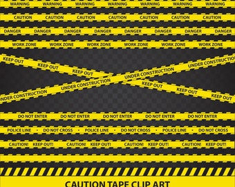 Yellow Caution Tape Clip Art Deluxe Digital Variety 12 Pack - Commercial Use ok