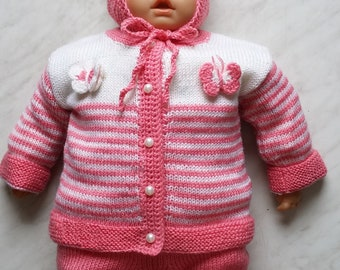Hand Knit Sweater, Cardigan for Baby with Butterfly. Pink & White, 60% Merino Wool Baby Jacket. Sizes (0-24m)