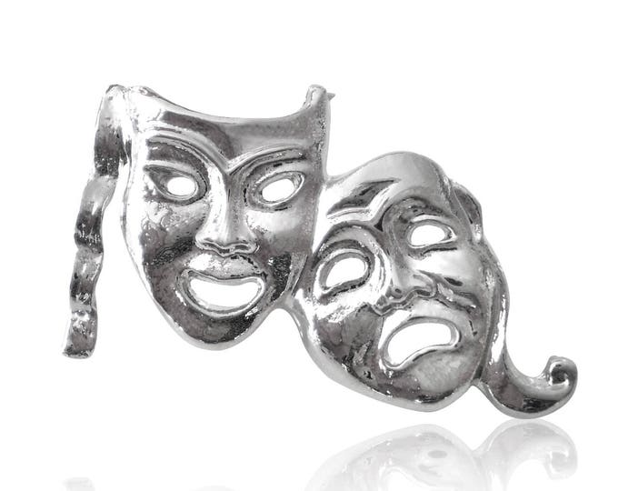 Comedy Tragedy Theatre Mask Lapel Pin Badge Gift Boxed