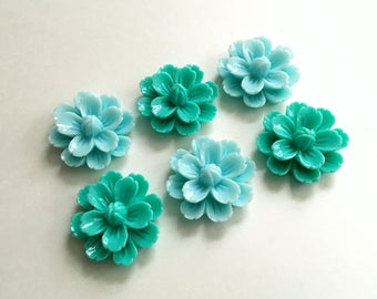 NEW - XLG 27mm Resin Flower Cabochon - Teal Green or Light Blue - QTY 6
