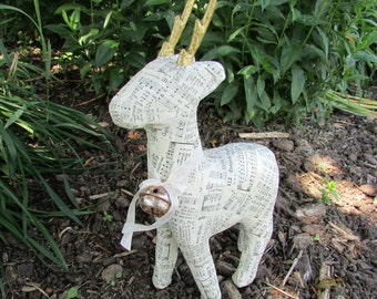 Standing Paper Mache Deer Decoupaged with Vintage Hymnal Sheet Music
