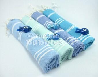 FREE Shipping Set of 4 Hand Towel, Head Towel Peshkir Turkish Towel Exclusive Quality Pure Turkish Cotton Tea Towel Kitchen Towel Baby Towel