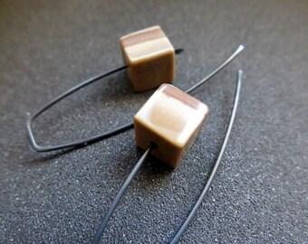 black earings. brown jasper earrings in anodized niobium. Canadian seller