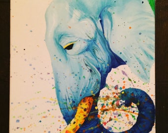 ORIGINAL colorful modern art acrylic elephant painting