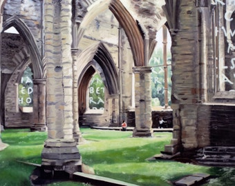 Original Print of Oil Painting, Tintern Abbey, Wales, Ancient Ruins