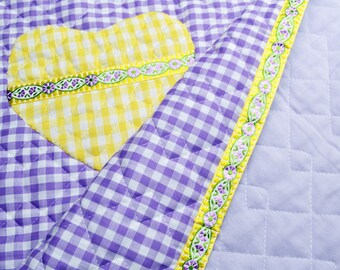 Baby Quilt Yellow Hearts Violet White Squares Baby Bedding