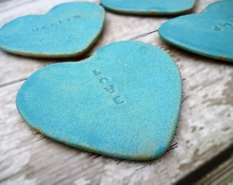 Handmade, Ceramic coasters, bespoke Loveheart coasters.  Tea light stands, Valentine's Day gift