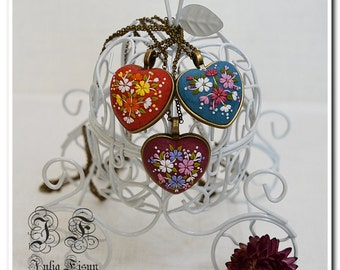 Heart Pendant Heart Necklace Embroidery necklace Floral Jewelry Feminine necklace Applique Floral Embroidery Filigree necklace Gift for her
