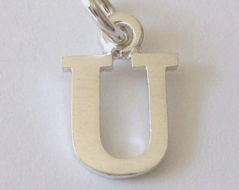 Genuine SOLID 925 STERLING SILVER 3D Initial U Letter Pendant