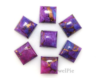 Copper Purple Turquoise Natural Loose  Gemstone Cabochon Square 10x10 AAA Grade - 7 Pcs.