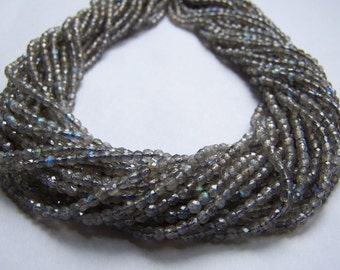 Faceted Labradorite 3mm beads 15.5 inch strand