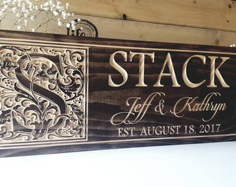 Established Family name sign plaque carved established sign wood name sign anniversary gift wedding gift family Christmas gift