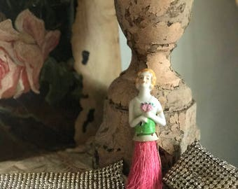 Antique Vintage Boudoir Porcelain Half Doll Hand Broom Blonde  Haired Beauty With Hat Blue Bodice Ribbon Bow