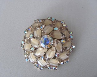 Vintage Givre Glass Brooch, Rhinestone Domed Pin, Vintage 1960s Jewelry