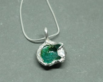 999 Fine Silver, watercast, Japanese enamelled pendant.  With 925 silver chain