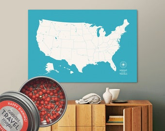 Push Pin USA Map (Aqua) Travel Map Push Pin Map Travel Gift Road Trip Map of the USA on Canvas Personalized Gift For Family Name Sign