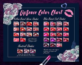 LipSense Color Chart, LipSense Display, Top 36, Cool Colors, Yellow Based Warm, Senegence Color Palette, Dark Floral, Instant Download