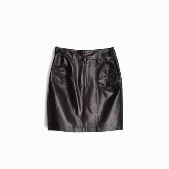 Vintage 90s Black Leather Mini Skirt / Ruched Leather Skirt / High Waist Skirt - women's medium
