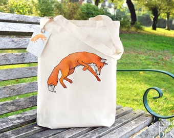 Leaping Fox Tote Bag, Ethically Produced Shopping Bag, Reusable Shopper Bag, Cotton Tote, Shopping Bag, Tote Bag, Stocking Filler, Fox Gift