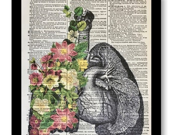Vintage Floral Lungs, Anatomical Flower Lungs, Pink Rose Lungs, Anatomical Print, Lung Pulmonary, 8x10 A4 Size, Dictionary Print