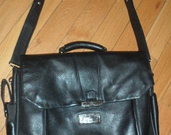 bosca black  leather messenger bag  briefcase   black leather holds everthing